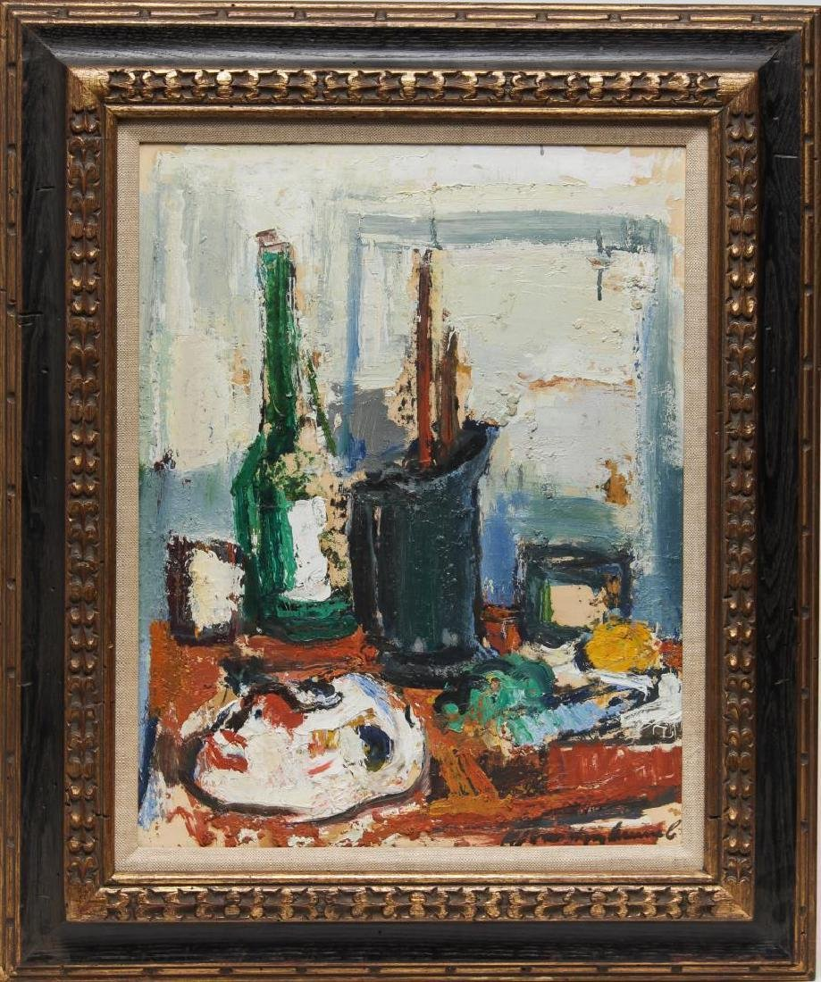 Illegibly Signed- Abstract Still Life Oil on Board
