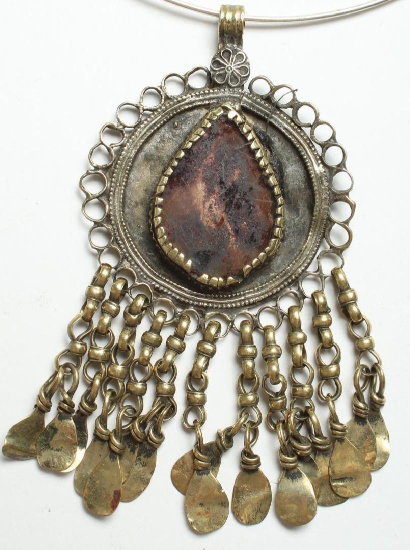 Tribal Brass & Faux-Gem Fringed Pendant - 2