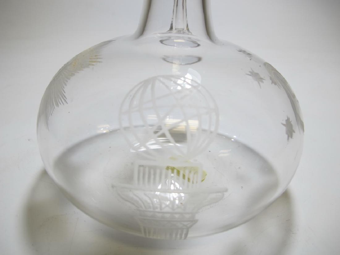 Vintage Masonic glass decanter - 5