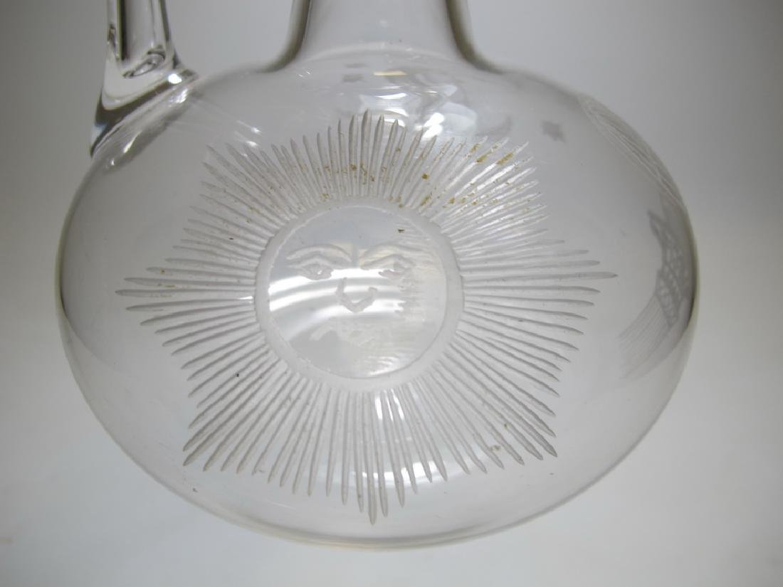 Vintage Masonic glass decanter - 6