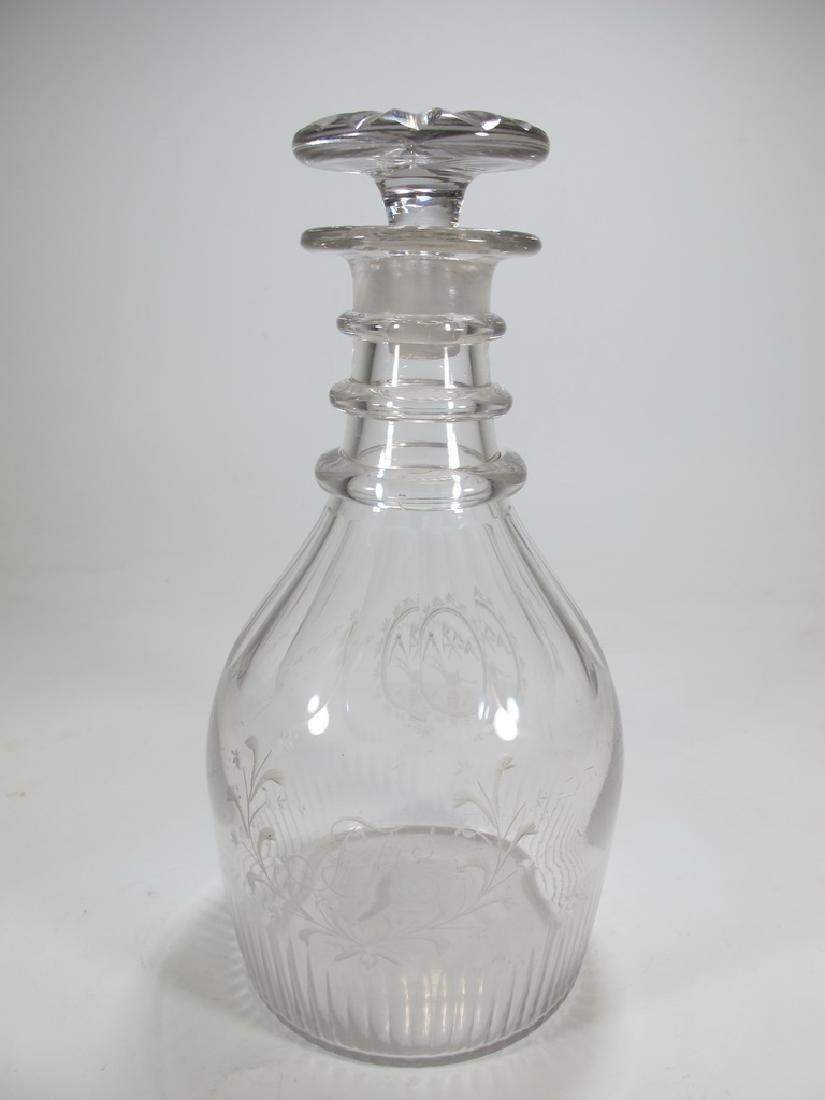 19th C Masonic glass decanter