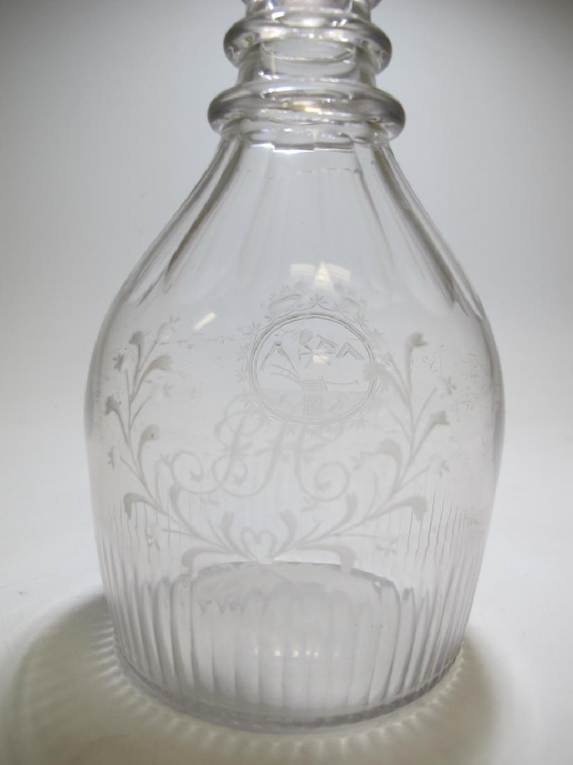 19th C Masonic glass decanter - 2