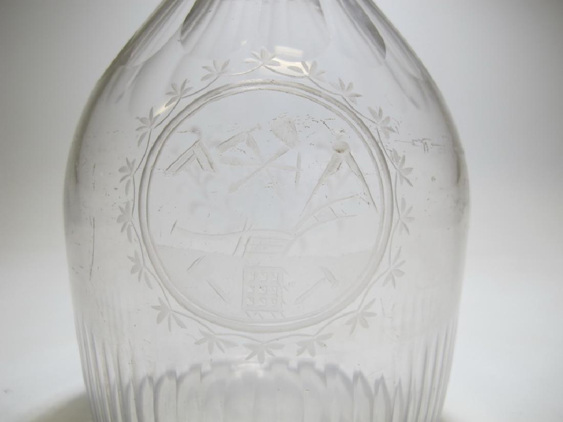 19th C Masonic glass decanter - 5