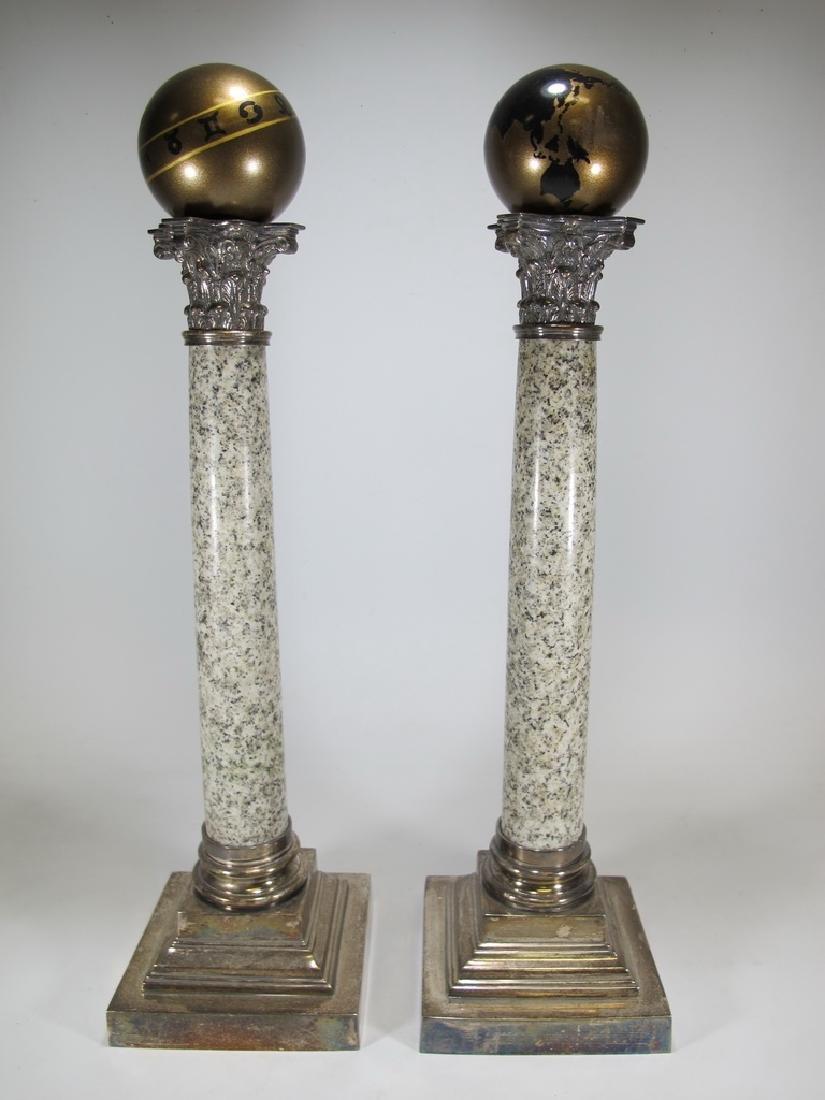 Vintage pair of Masonic silverplate & marble columns