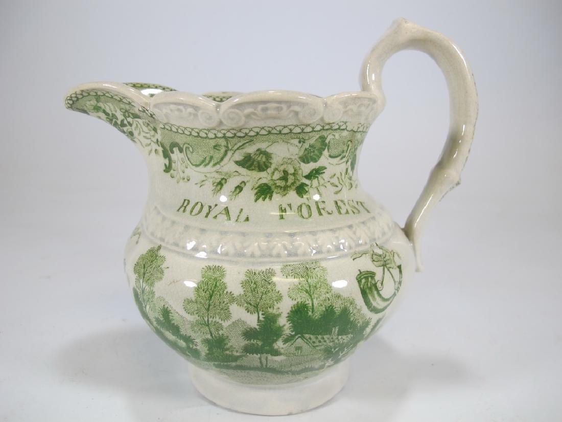 Antique English Masonic glazed pottery milk jug