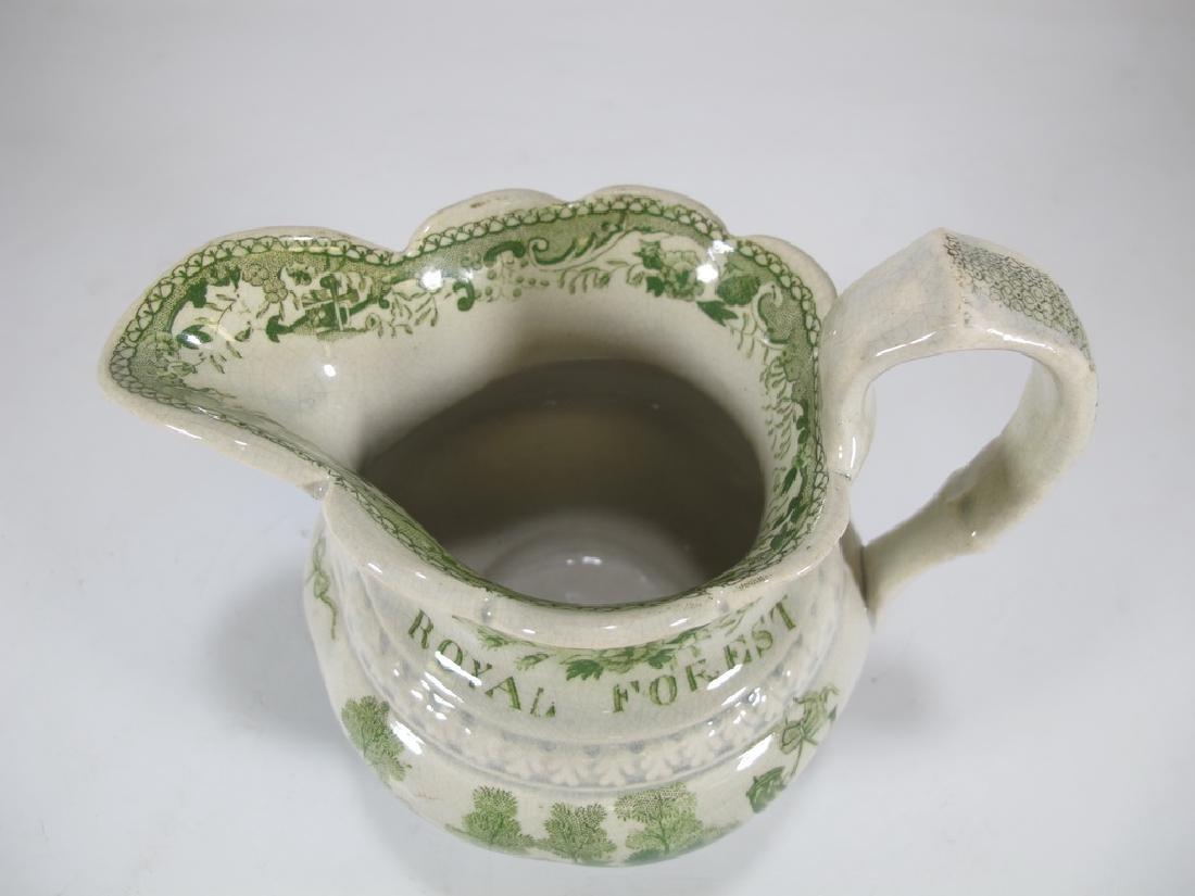 Antique English Masonic glazed pottery milk jug - 2