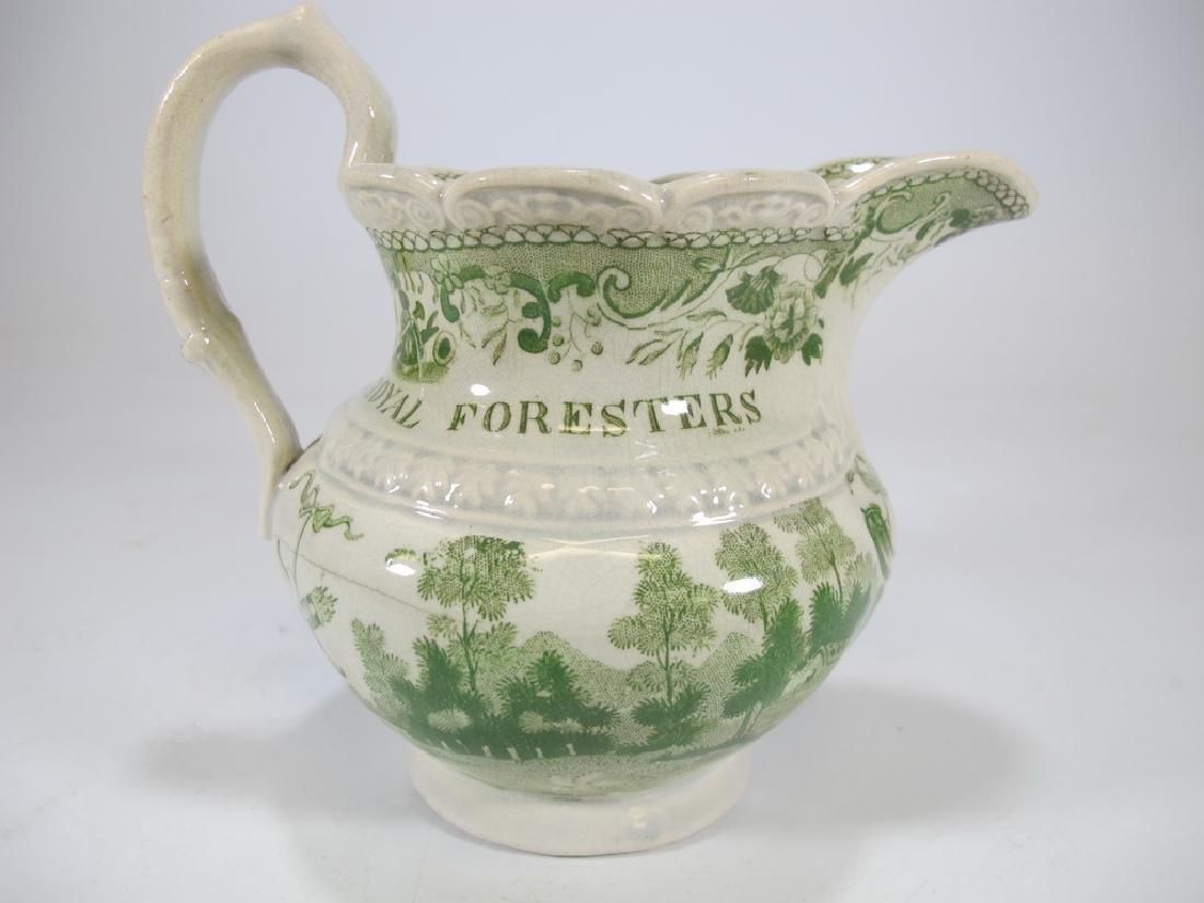 Antique English Masonic glazed pottery milk jug - 4