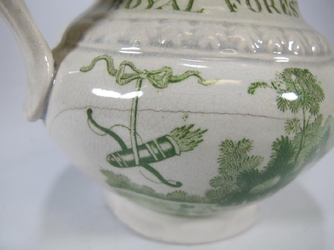 Antique English Masonic glazed pottery milk jug - 5