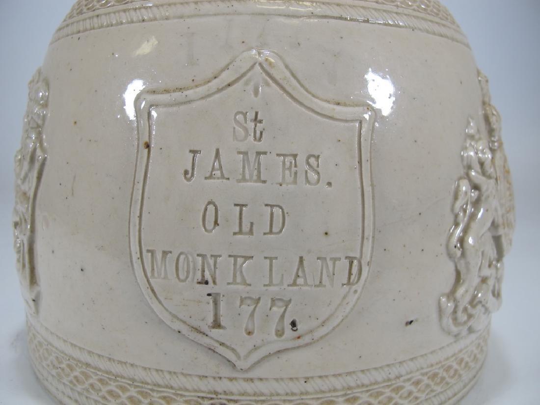 Antique masonic stoneware decanter - 2