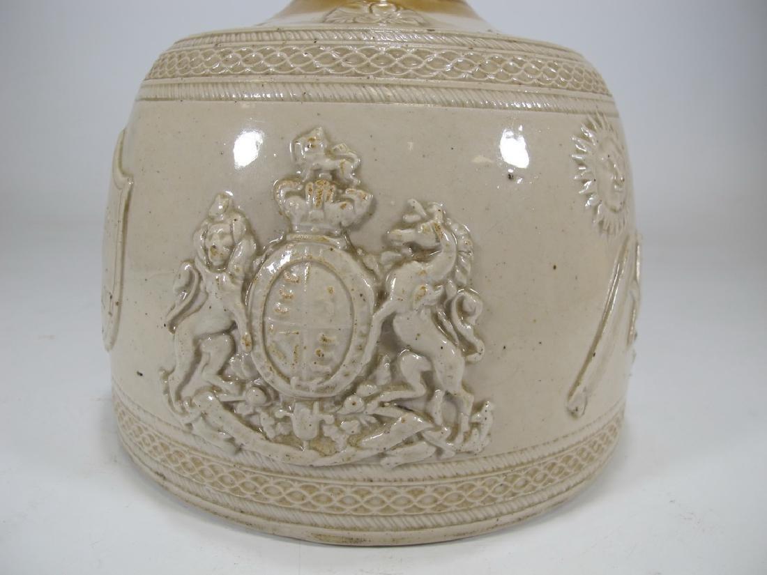 Antique masonic stoneware decanter - 3