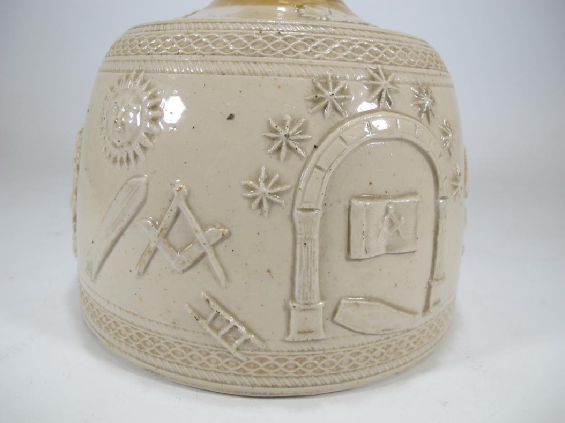 Antique masonic stoneware decanter - 4