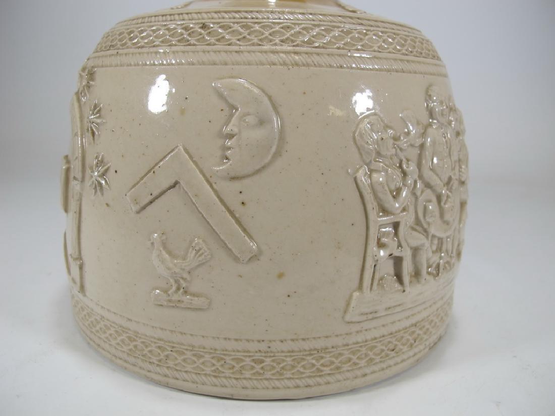 Antique masonic stoneware decanter - 5