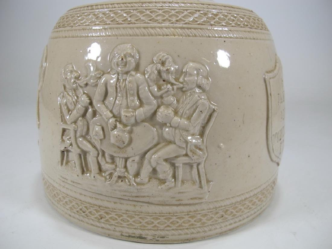 Antique masonic stoneware decanter - 6