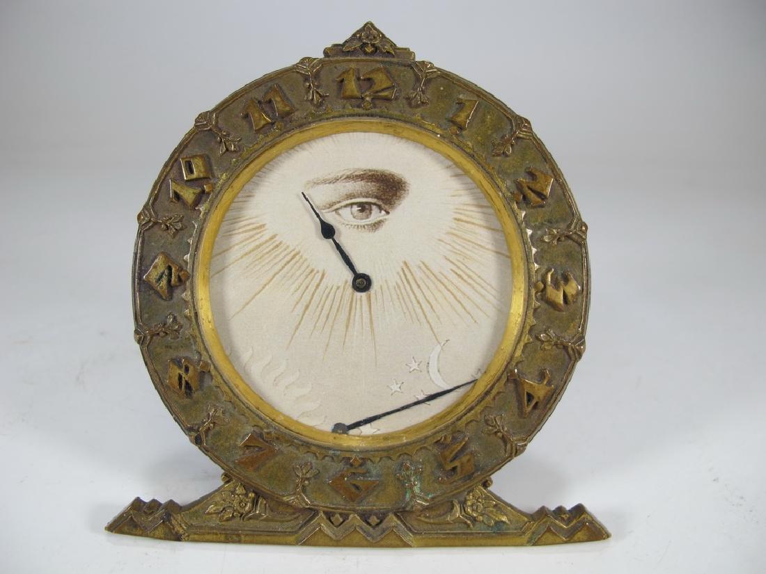 Antique Masonic bronze table clock