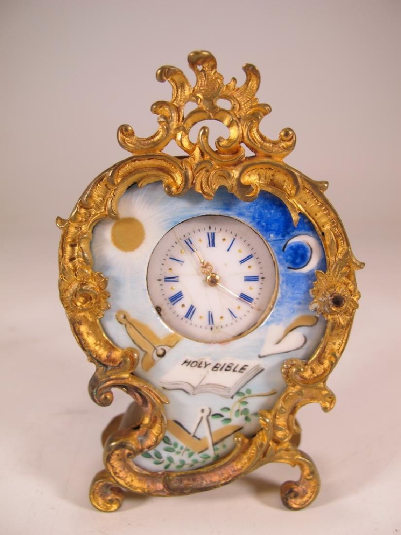 Antique Masonic bgilt bronze & enamel small clock