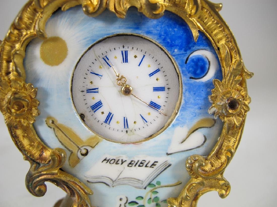 Antique Masonic bgilt bronze & enamel small clock - 2