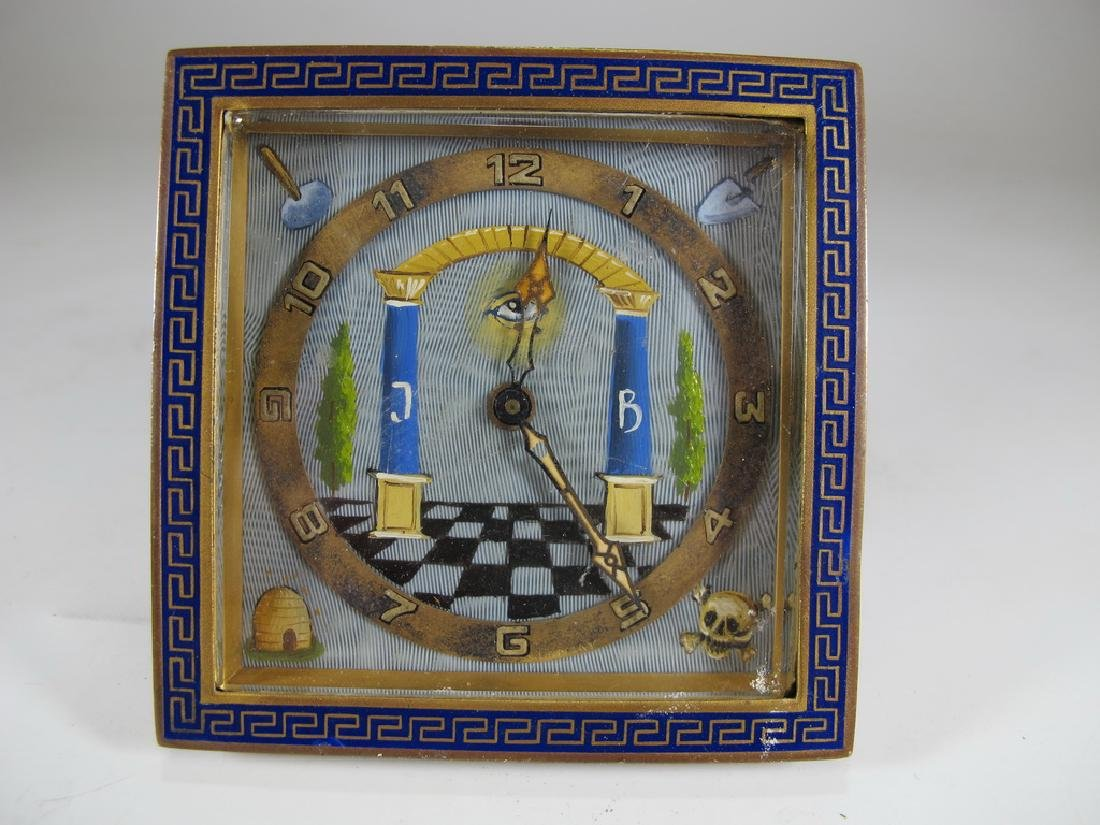 Antique Masonic German KIENZLE table clock