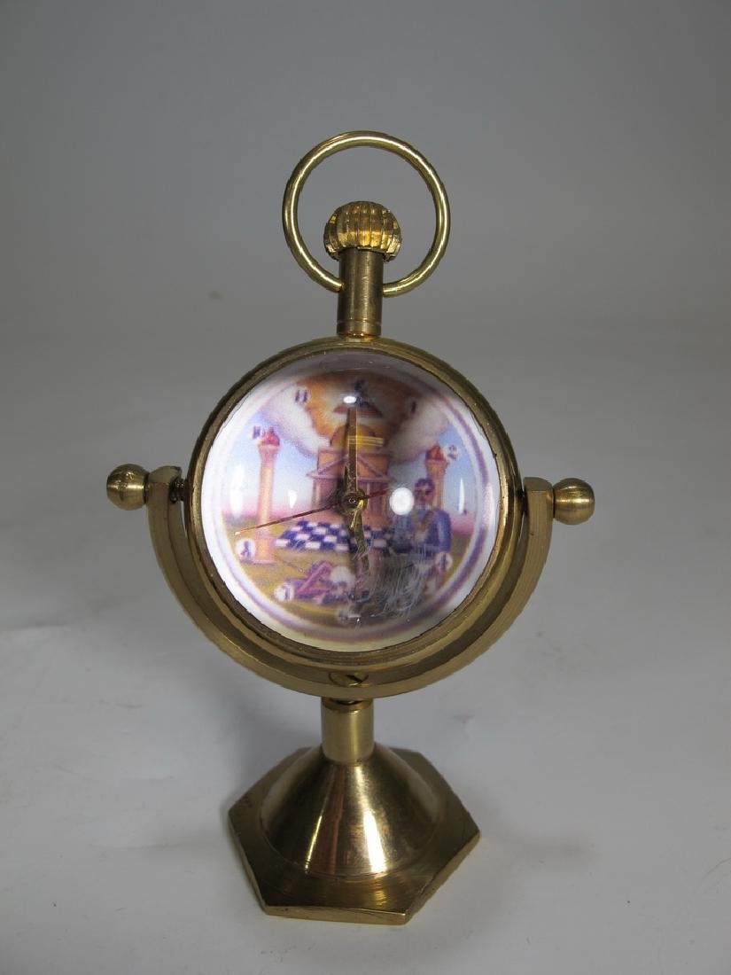 HMT Co Masonic glass ball & brass clock