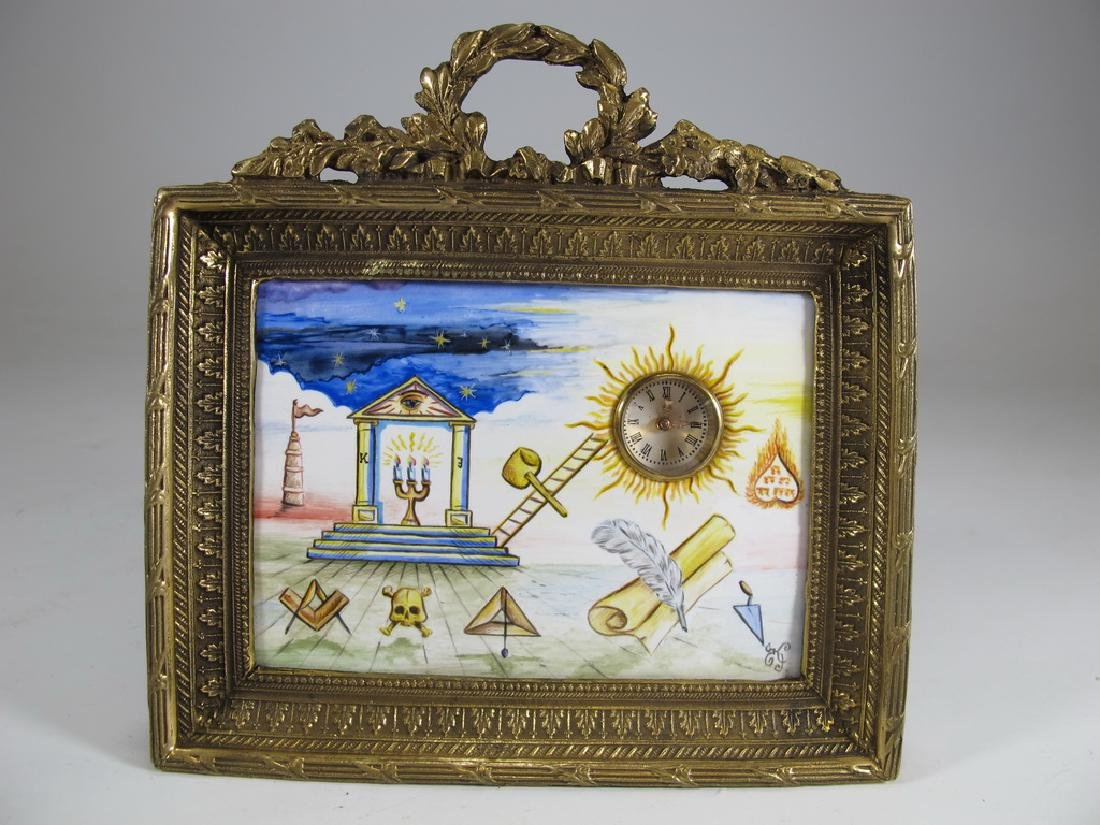 Antique Masonic bronze & enamel table clock