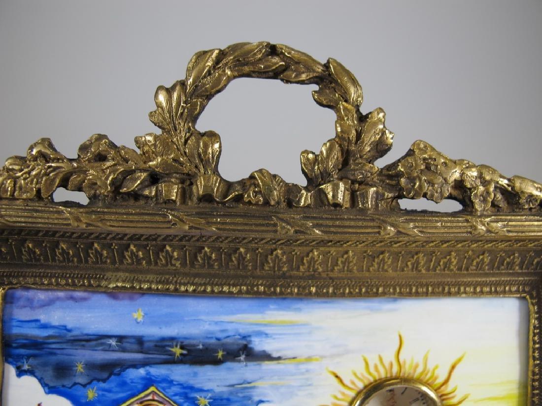 Antique Masonic bronze & enamel table clock - 2