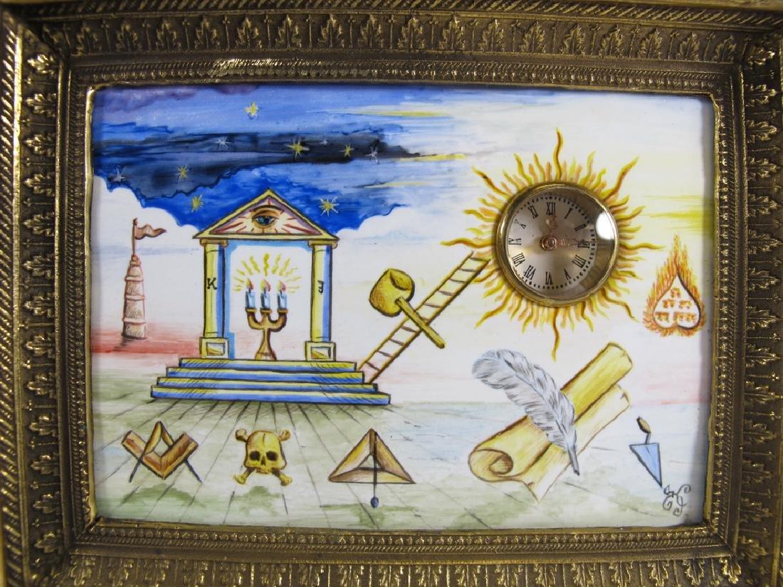 Antique Masonic bronze & enamel table clock - 3