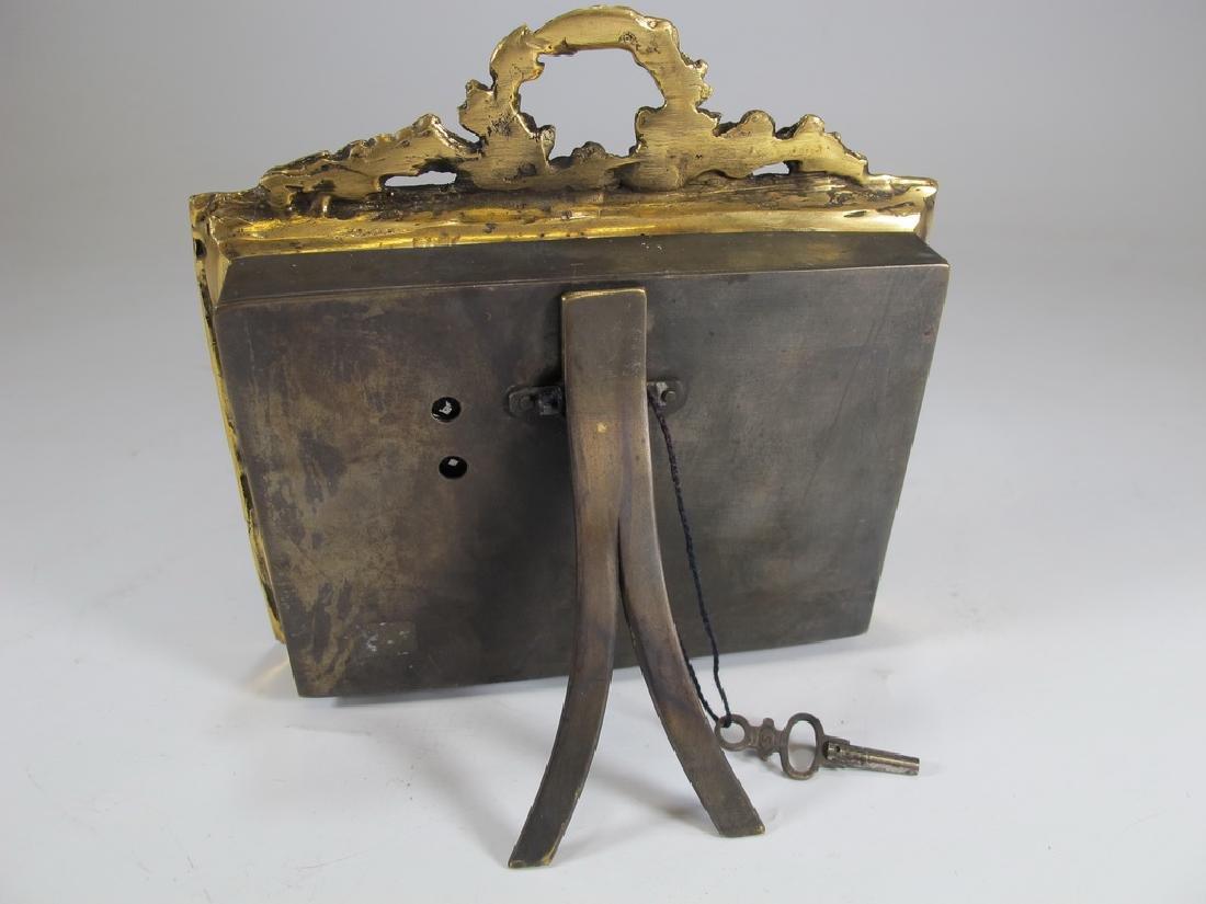 Antique Masonic bronze & enamel table clock - 4