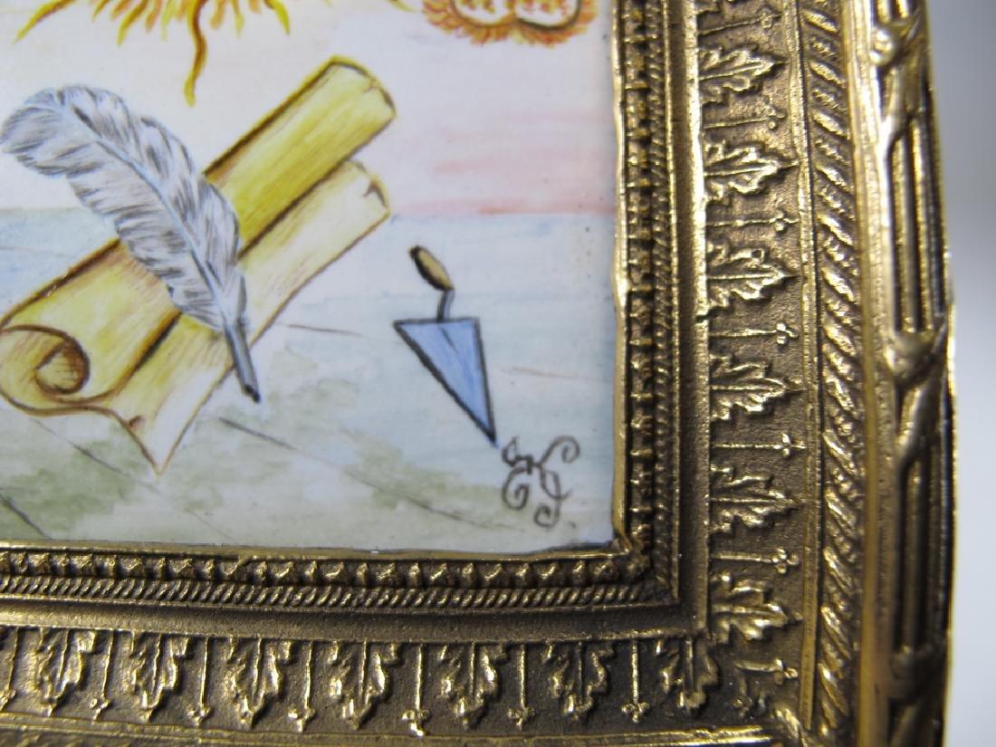Antique Masonic bronze & enamel table clock - 5