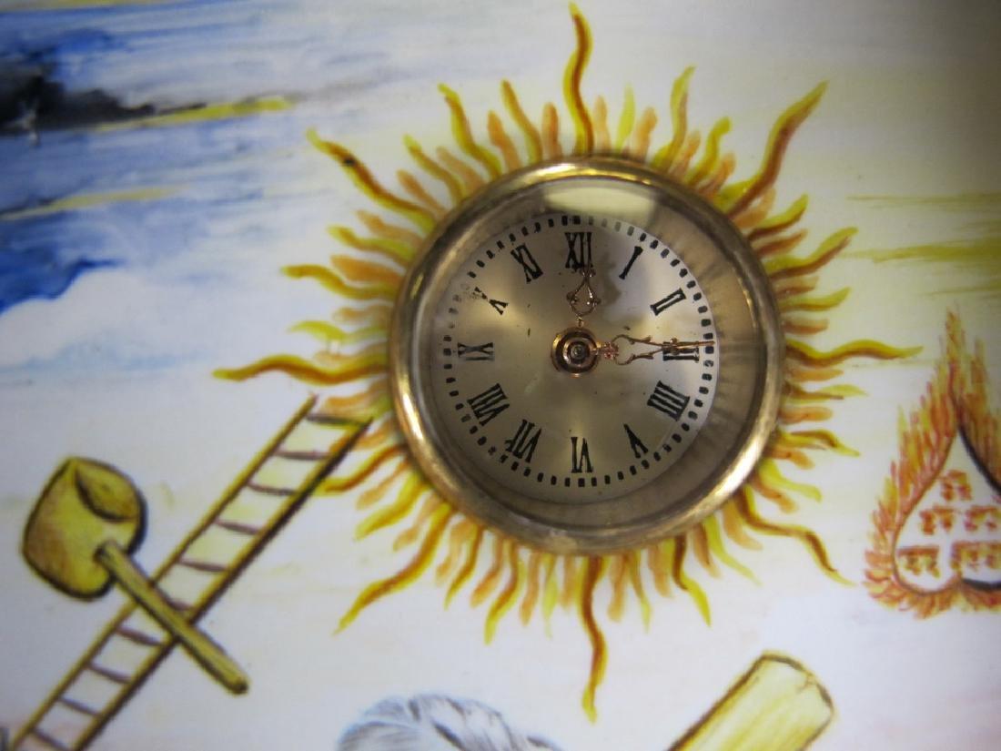 Antique Masonic bronze & enamel table clock - 6