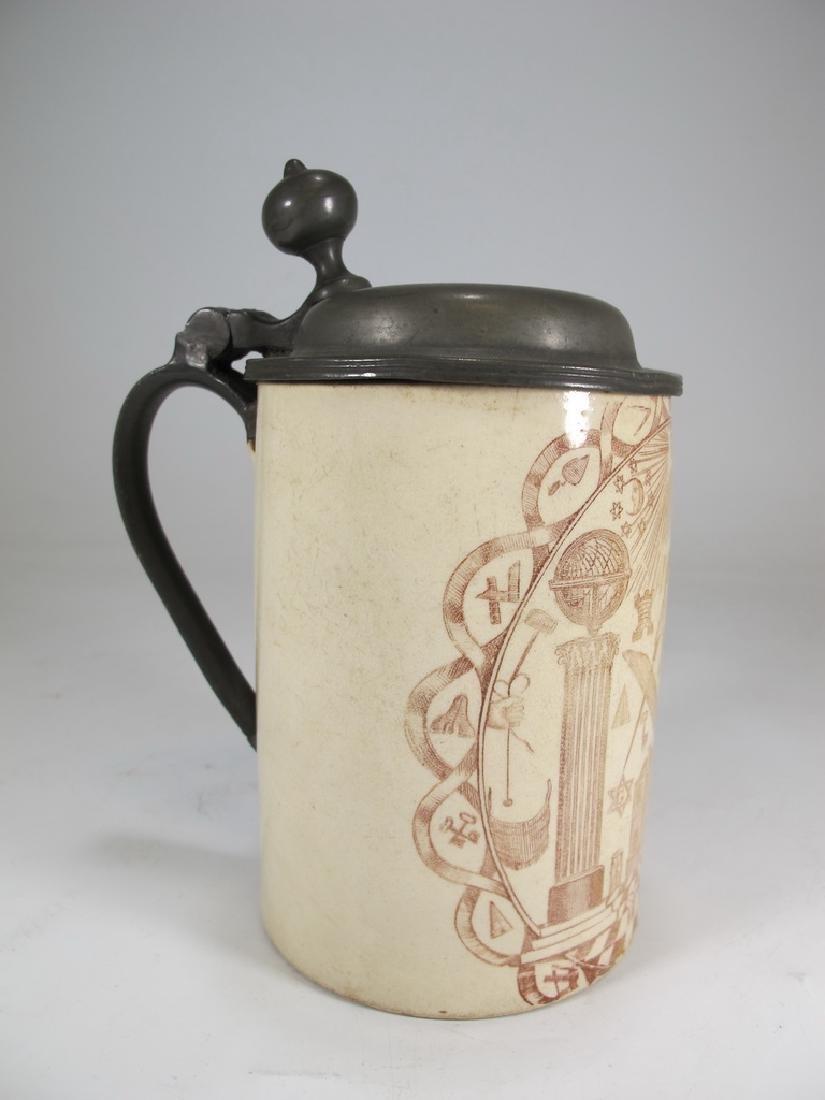 Antique English Masonic porcelain & metal mug