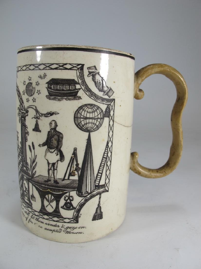Antique Masonic cream ware frog/lizard/tadpole mug