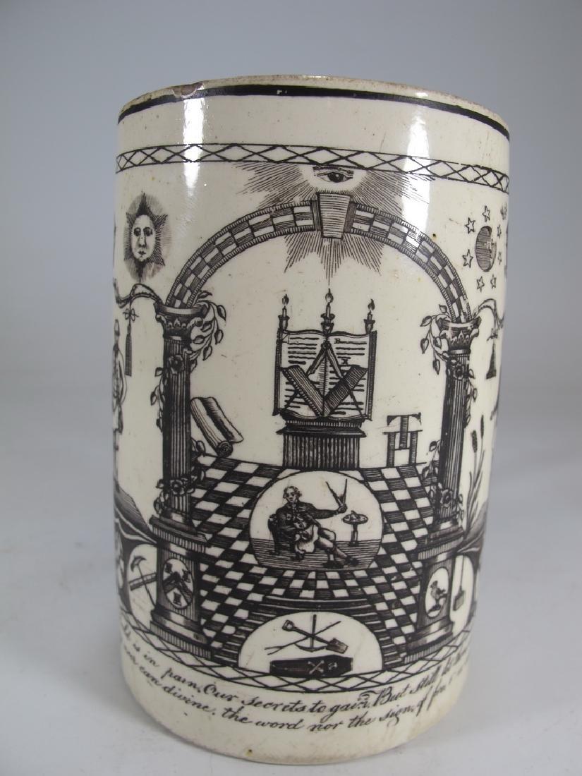 Antique Masonic cream ware frog/lizard/tadpole mug - 2