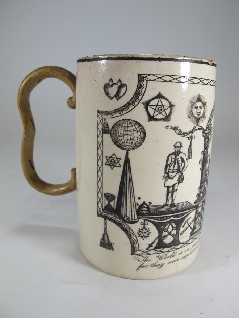 Antique Masonic cream ware frog/lizard/tadpole mug - 3