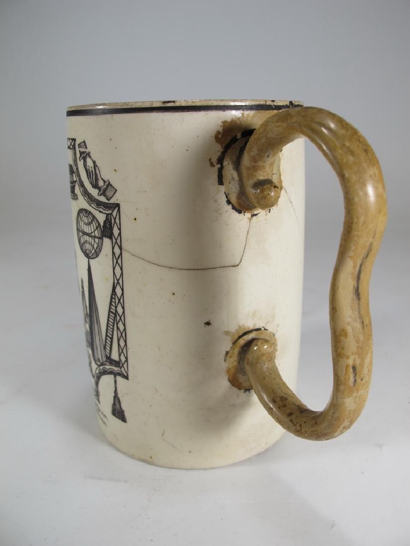Antique Masonic cream ware frog/lizard/tadpole mug - 4