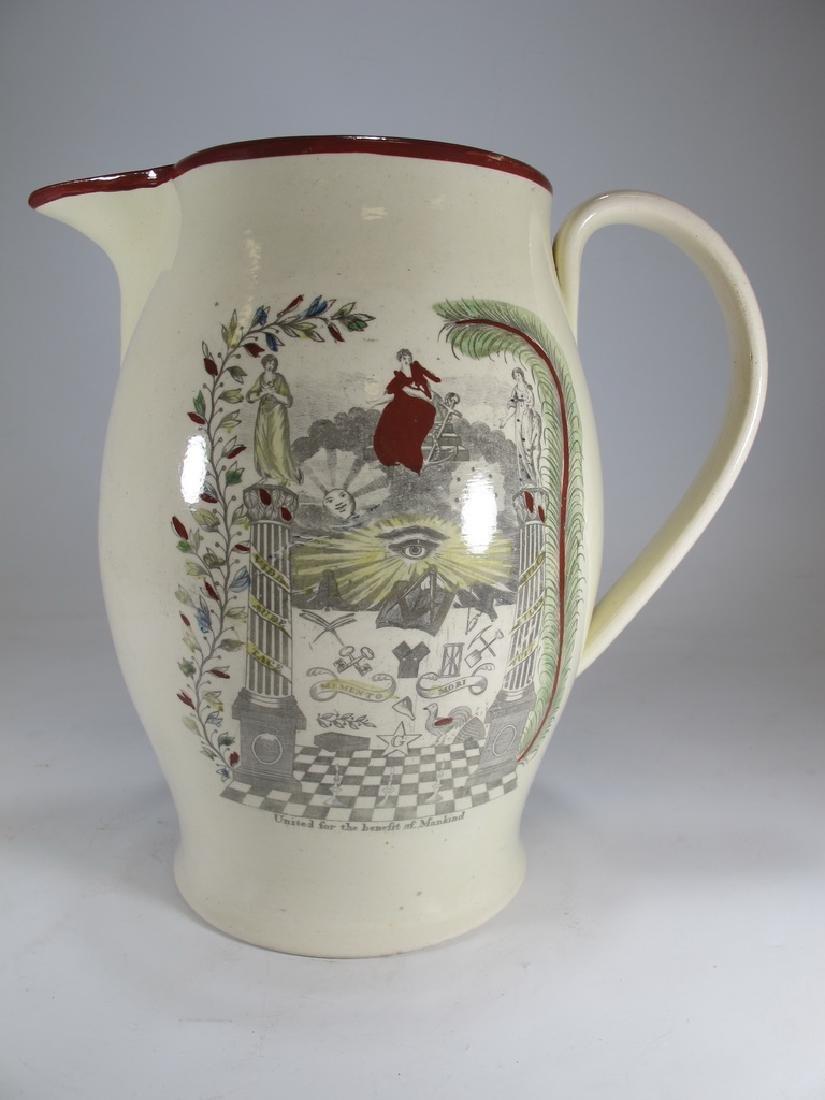 Antique Masonic cream ware tall pitcher