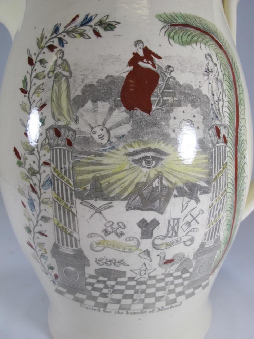 Antique Masonic cream ware tall pitcher - 2