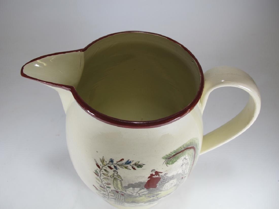Antique Masonic cream ware tall pitcher - 3