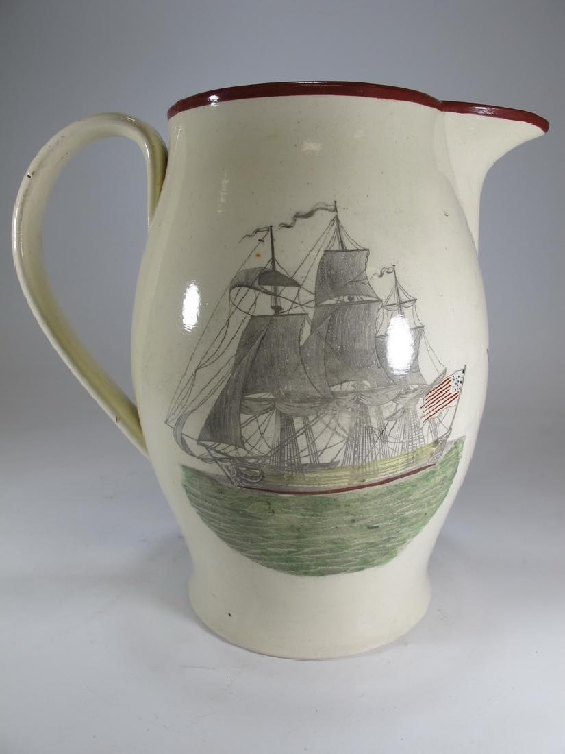Antique Masonic cream ware tall pitcher - 5