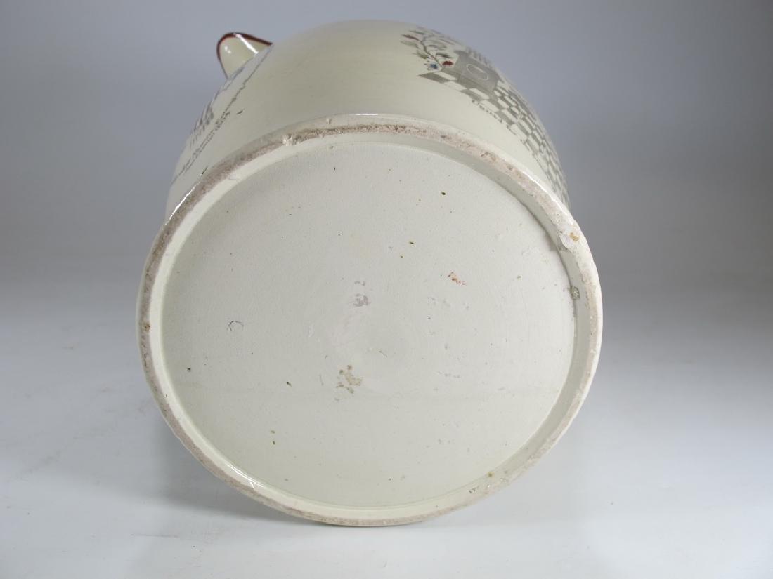 Antique Masonic cream ware tall pitcher - 7