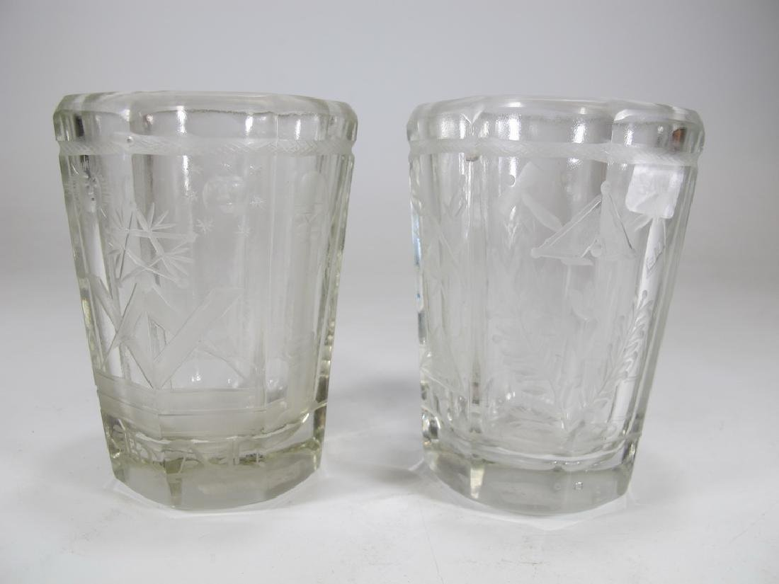 Pair of Masonic firing glass tumblers