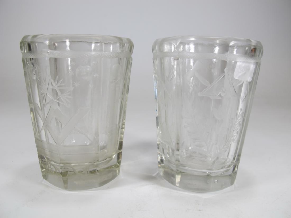 Pair of Masonic firing glass tumblers