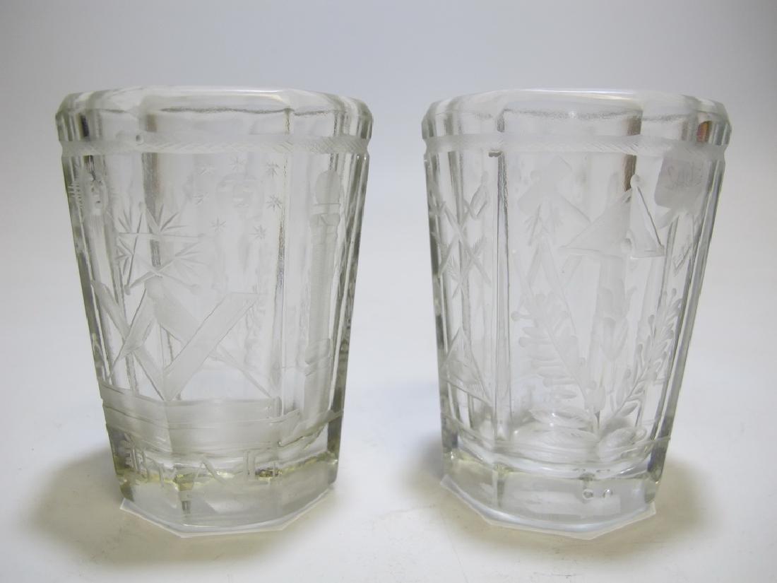 Pair of Masonic firing glass tumblers - 2
