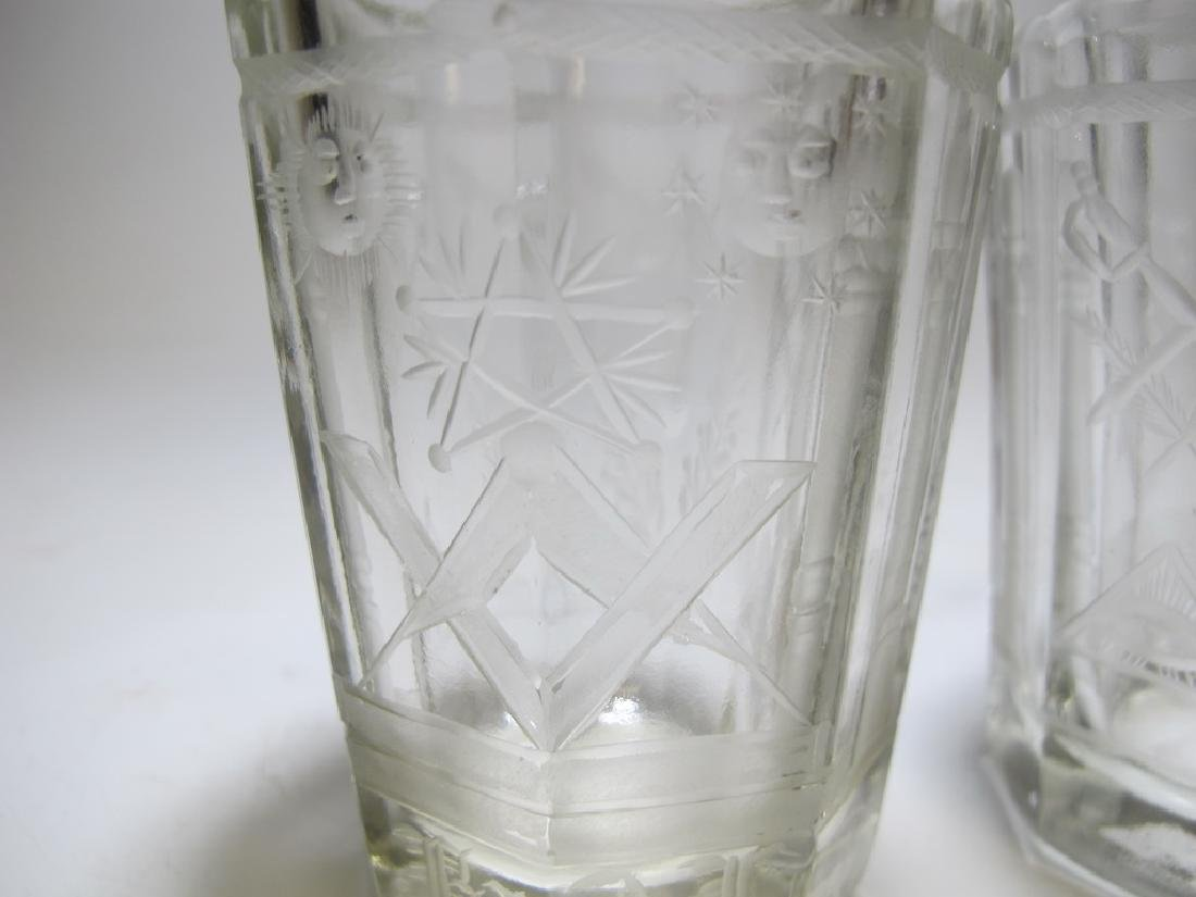 Pair of Masonic firing glass tumblers - 5