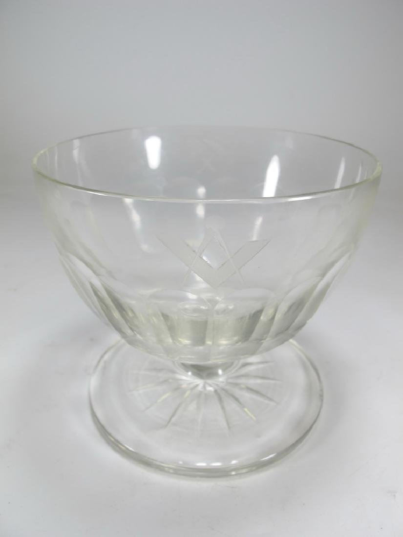 Victorian Masonic glass bowl - 2