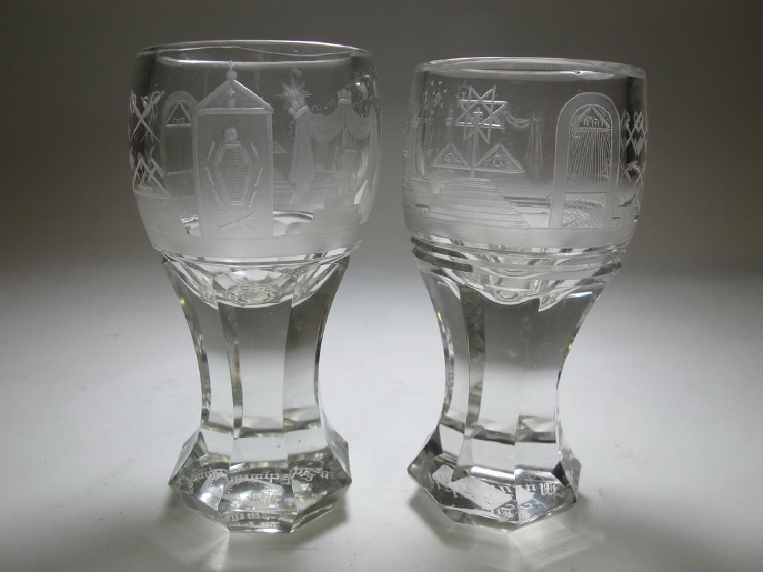 Pair of Masonic firing glass presentation goblets