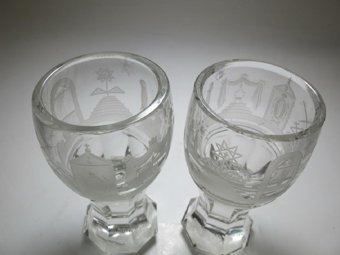 Pair of Masonic firing glass presentation goblets - 2