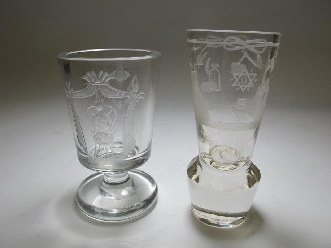 2 Masonic Bohemian firing & wine glasses