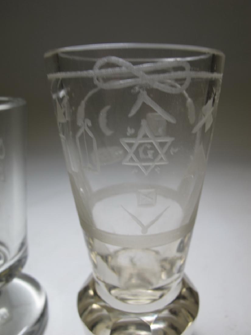2 Masonic Bohemian firing & wine glasses - 3