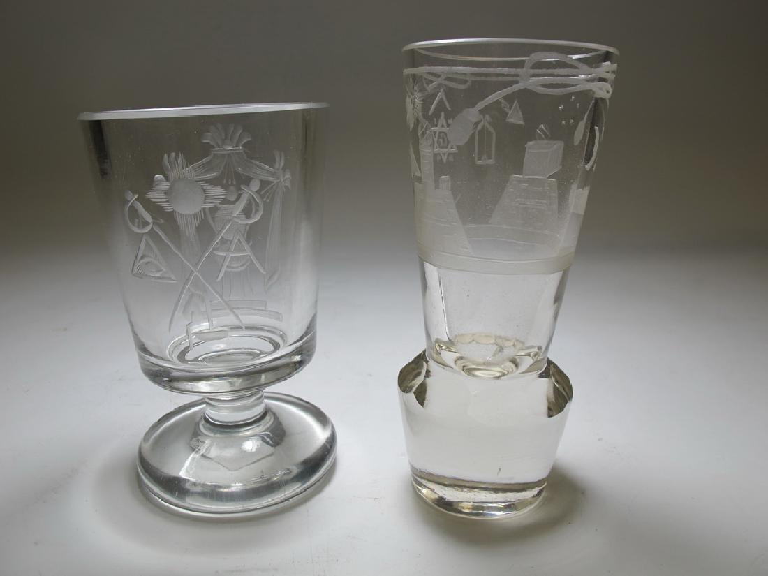 2 Masonic Bohemian firing & wine glasses - 7