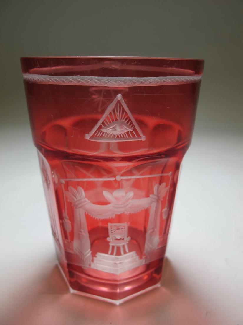 Masonic ruby red glass tumble