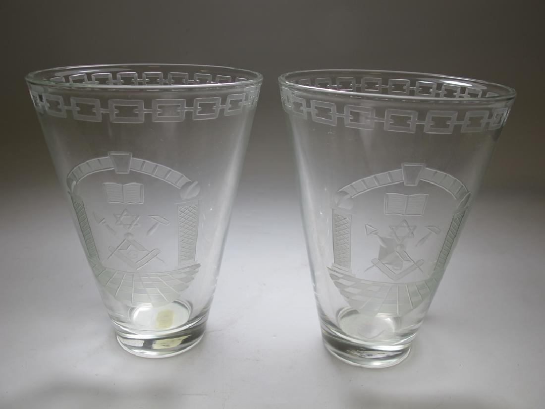 Pair of Masonic engraved glass vases